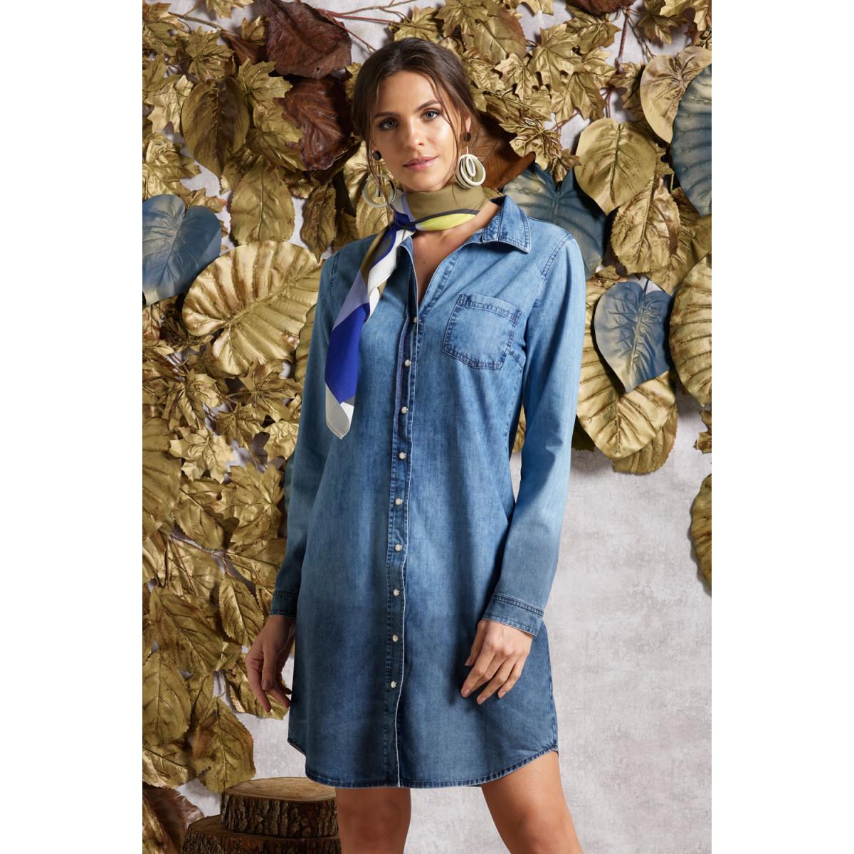 92733e502 Vestido Curto Jeans - Com botões - Manga Longa - Reserva Natural ...