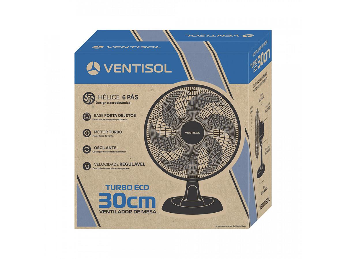Ventilador de Mesa Turbo ECO 30cm 6 pás Preto - VENTISOL 127V