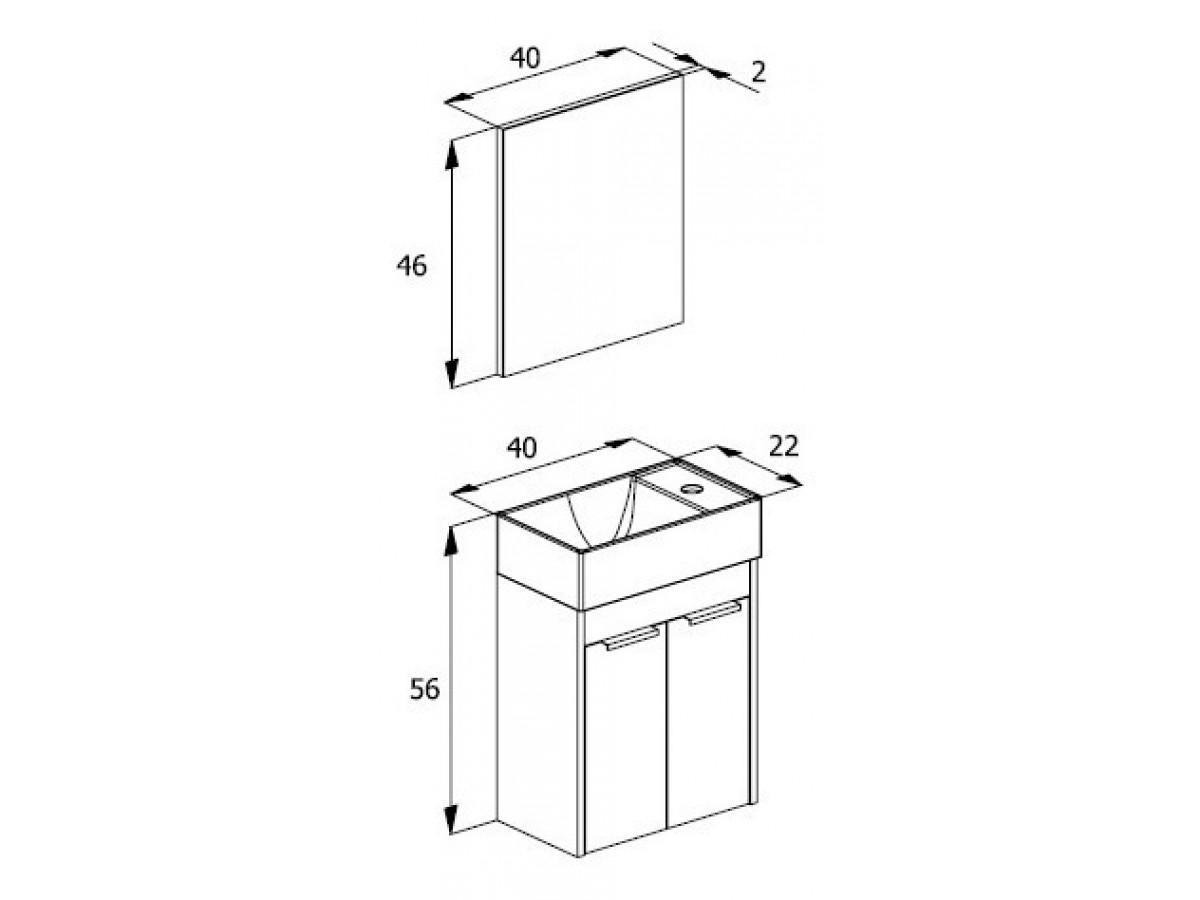 Conjunto Gabinete Suspenso para Banheiro Branco/Wendel ZIP - 2 Portas - 40X22 - INCEPA