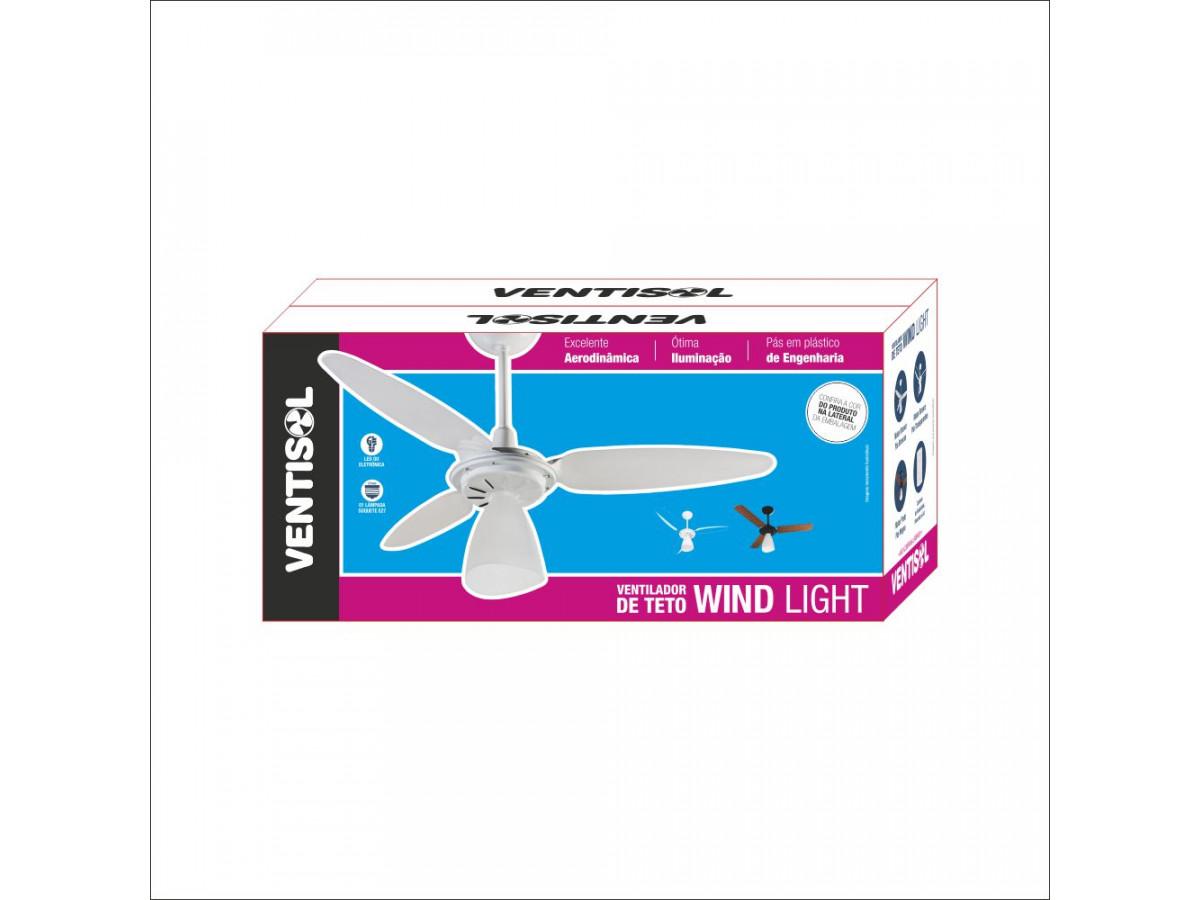 Ventilador de teto wind ligth 127V Preto/Mogno Ventisol - CAIXA