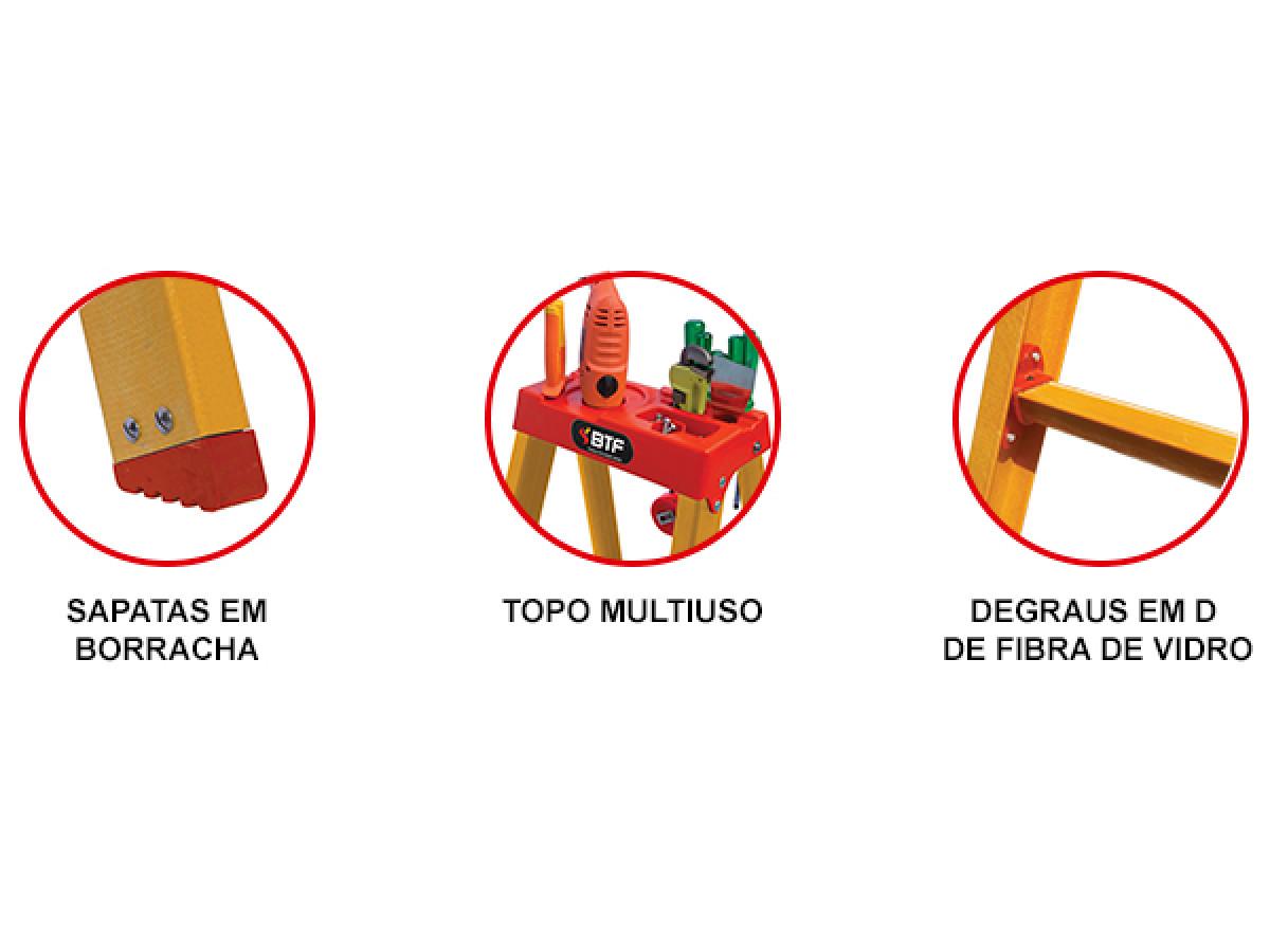 Escada de Fibra Tesoura Prática Duplo Acesso  8 Degraus Botafogo