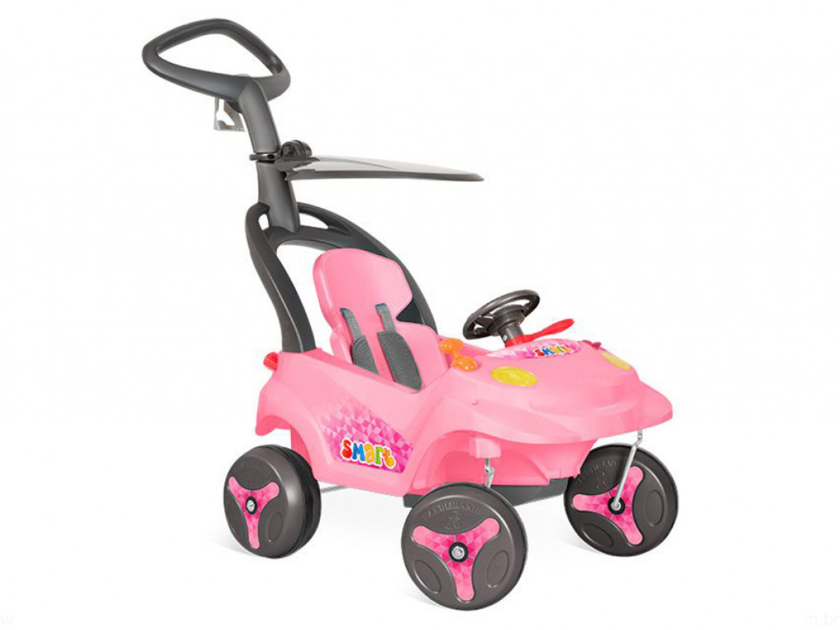 b2a113744ddca Carro Smart Baby Reclinável Rosa 546 C  Empurrador Bandeirante ...