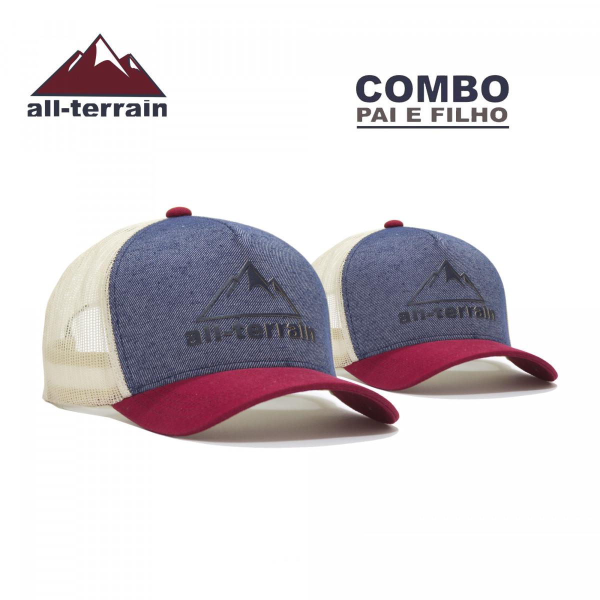 Combo Pai e Filho Boné All Terrain Mountain Azul Mescla com Bordô - All  Terrain Store 4418bd75f95
